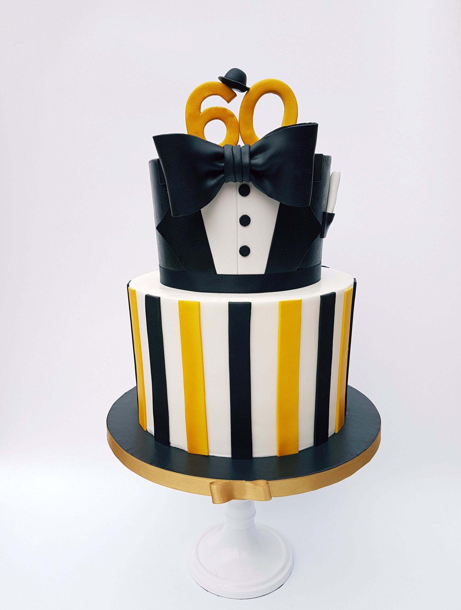 50 60 jaar verjaardag taart jubileum mijlpaal bijzonder goud zwart