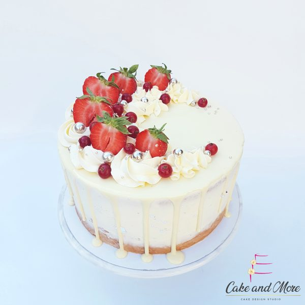 WitteChocolade Aarbeien Dripcake verjaardag, feest, vieren, taart