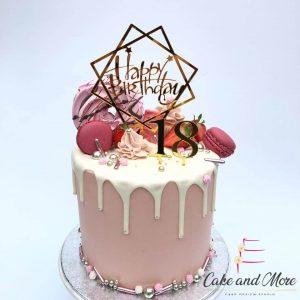 Birthday DripCake Verjaardagstaart roze wit goud