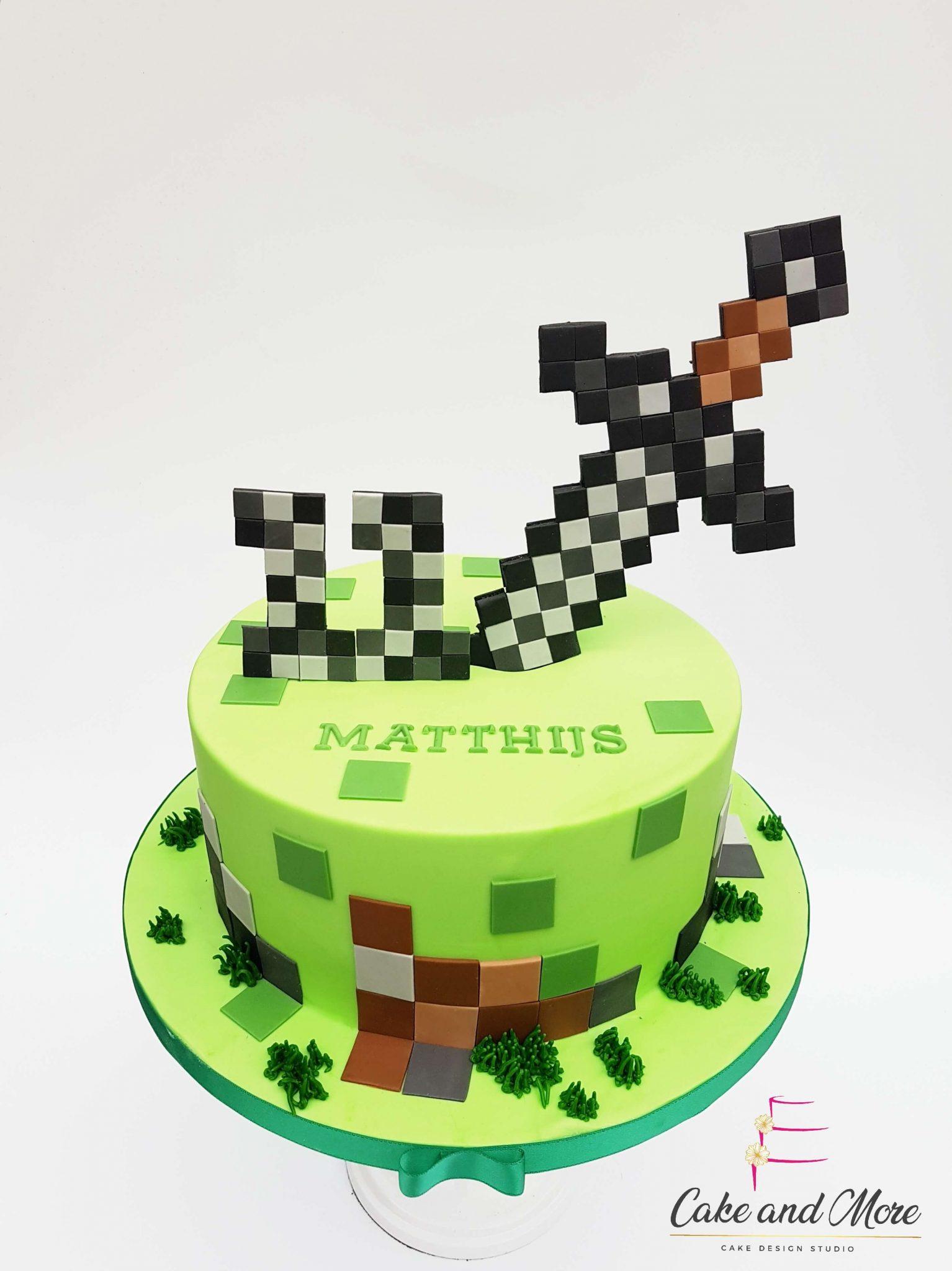 Minecraft Verjaardag taart