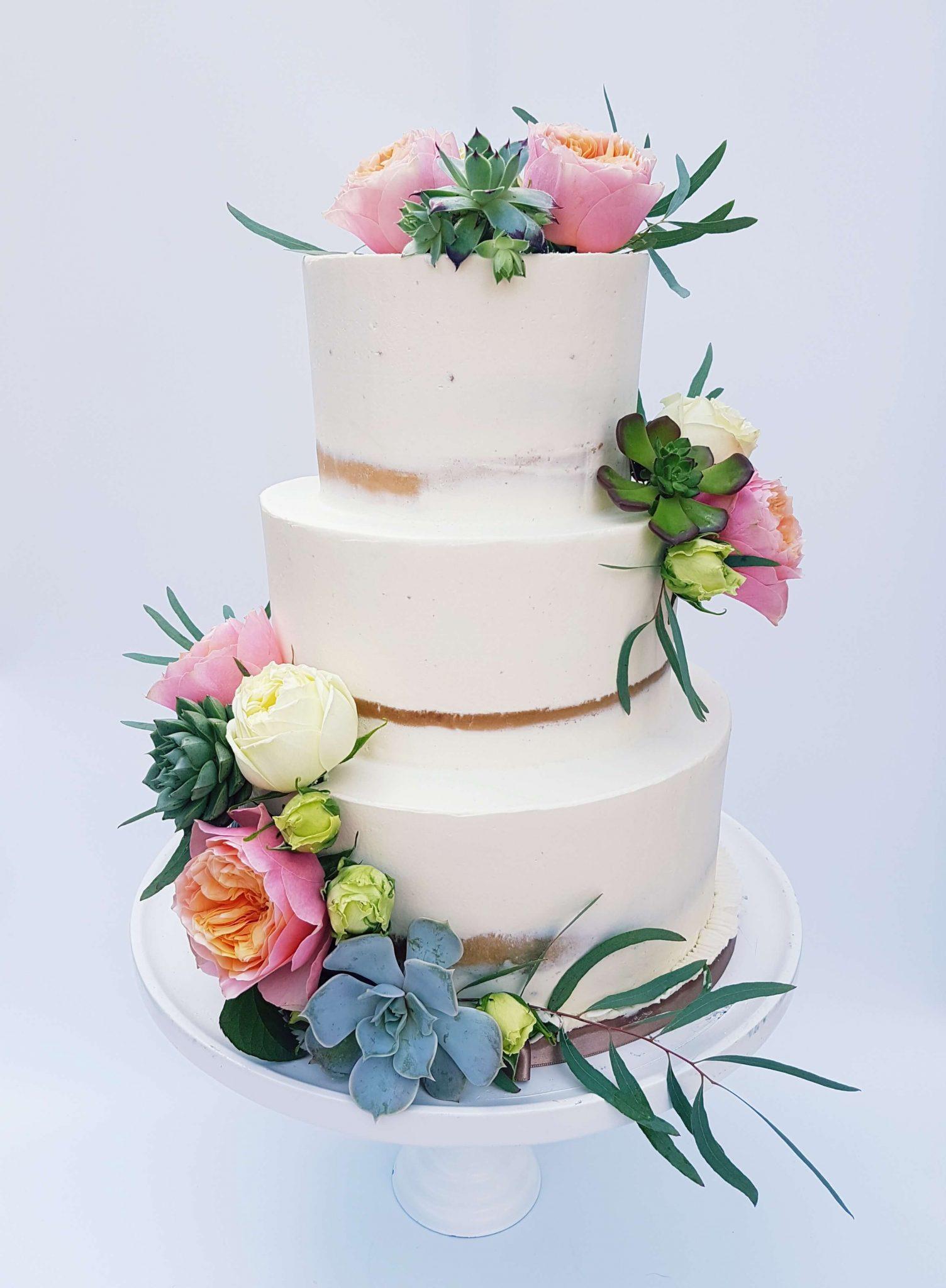 Semi Naked Floral Cake Succulent Vetplant