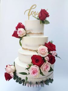 Semi Naked Floral Cake Roses