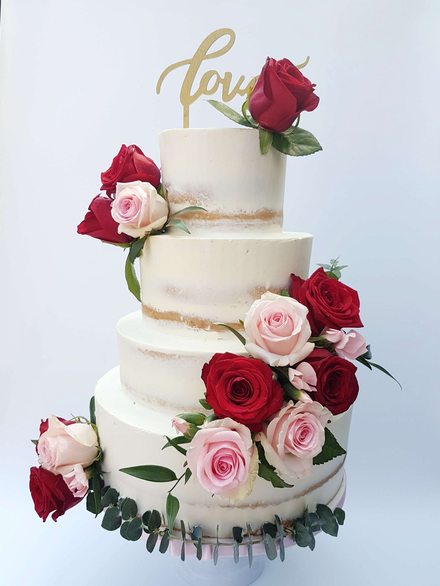 Semi Naked Floral Cake Roses