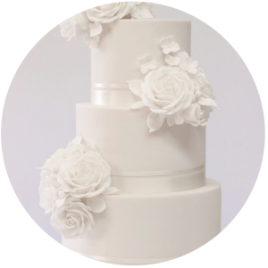 All white wedding cake sugarflowers