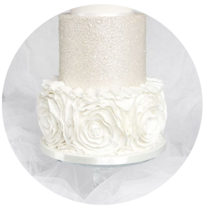 white ruffles wedding cake