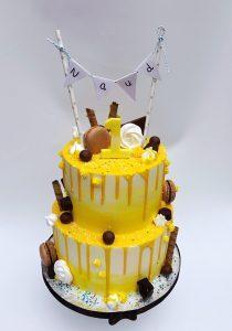 Gele Dripcake taart verjaardag chocolade