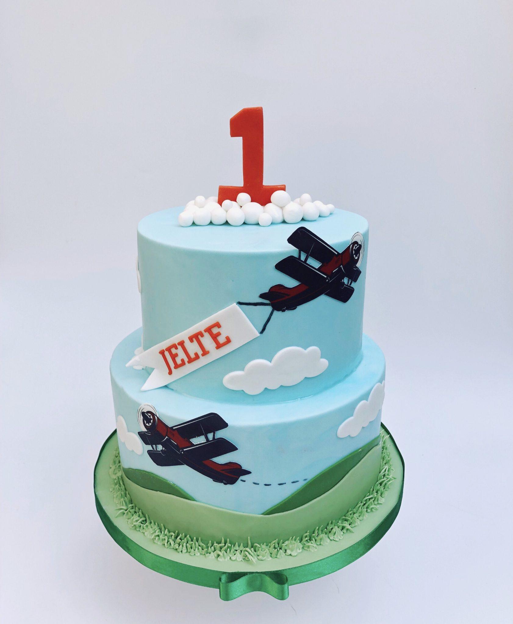 Zweefvliegtuig vliegtuigjes jongens verjaardag taart